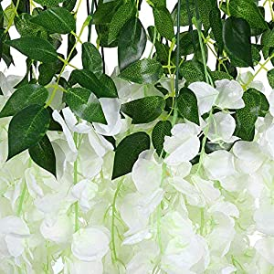 tonchean Artificial Wisteria Vine 24 Pack 3.6 Feet Ratta Fake Wisteria Flower Garland Silk Flowers Long Hanging Bush Flowers Silk Flowers String Home Party Wedding Decor