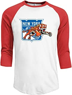 Duola Men's Baseball 3/4 Sleeve Casual Raglan T Shirt Jumping Ranger Tiger Black