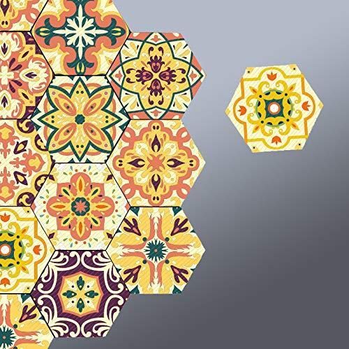 Prior.choice - Adhesivo para Azulejos (10 Unidades), diseño de hexágono marroquí, Color Naranja