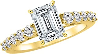 2.25 Ctw 14K White Gold Graduating Classic Emerald Cut Diamond Engagement Ring (1.5 Ct H Color SI1 Clarity Center Stone)