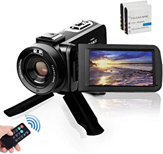 Video Camera Camcorder, Digital YouTube Vlogging Camera FHD 1080P 30FPS 24MP 16X Digital Zoom 3 Inch Touch Screen Video Recorder with Remote Control and Tripod, 2 Batteries