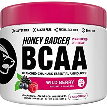 Honey Badger Vegan Keto BCAA + EAA Electrolyte Powder | Wild Berry | Natural Gluten Free Amino Acids Essential Aminos Sugar Free + Sucralose Free | 30 Servings