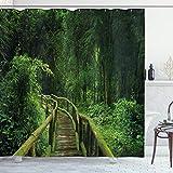 Jungle Decor cortina de ducha por Ambesonne, Fresh bosque Tailandia tropical con puente de madera follaje Meditación calma paisaje, tela Set de decoración de baño con ganchos, 75cm de largo, verde