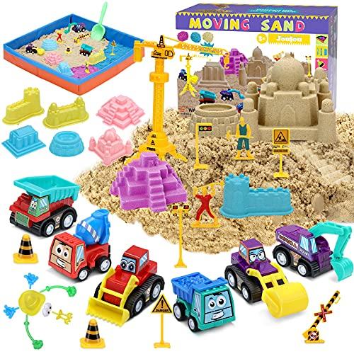 Fivejoy 41 PCS Juguete de Arena, Juguete Caja de Arena, Arena Play Sand Juguetes de Arena DIY Plegable Adecuado para Niños con Modelo y Camiones, Juguete de Interior para Niños Niñas 3 Años