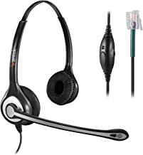 Wantek Corded Telephone Headset RJ9 w/Noise Cancelling Mic, Office Phone Headset For Polycom VVX310 VVX410 VVX411 Avaya 1416 Mitel 5330 ShoreTel 230 Plantronics S12 Allworx NEC Landline Phones(C602S1)
