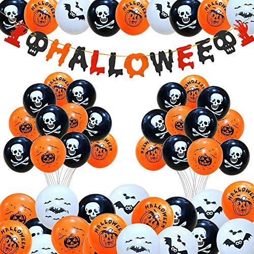 Caiery 50 PCS Decorazione Halloween Palloncini in Lattice & Happy Halloween Banner di Halloween Palloncino Decorativo per Feste per Rifornimenti del Partito di Halloween del Festival Fantasma