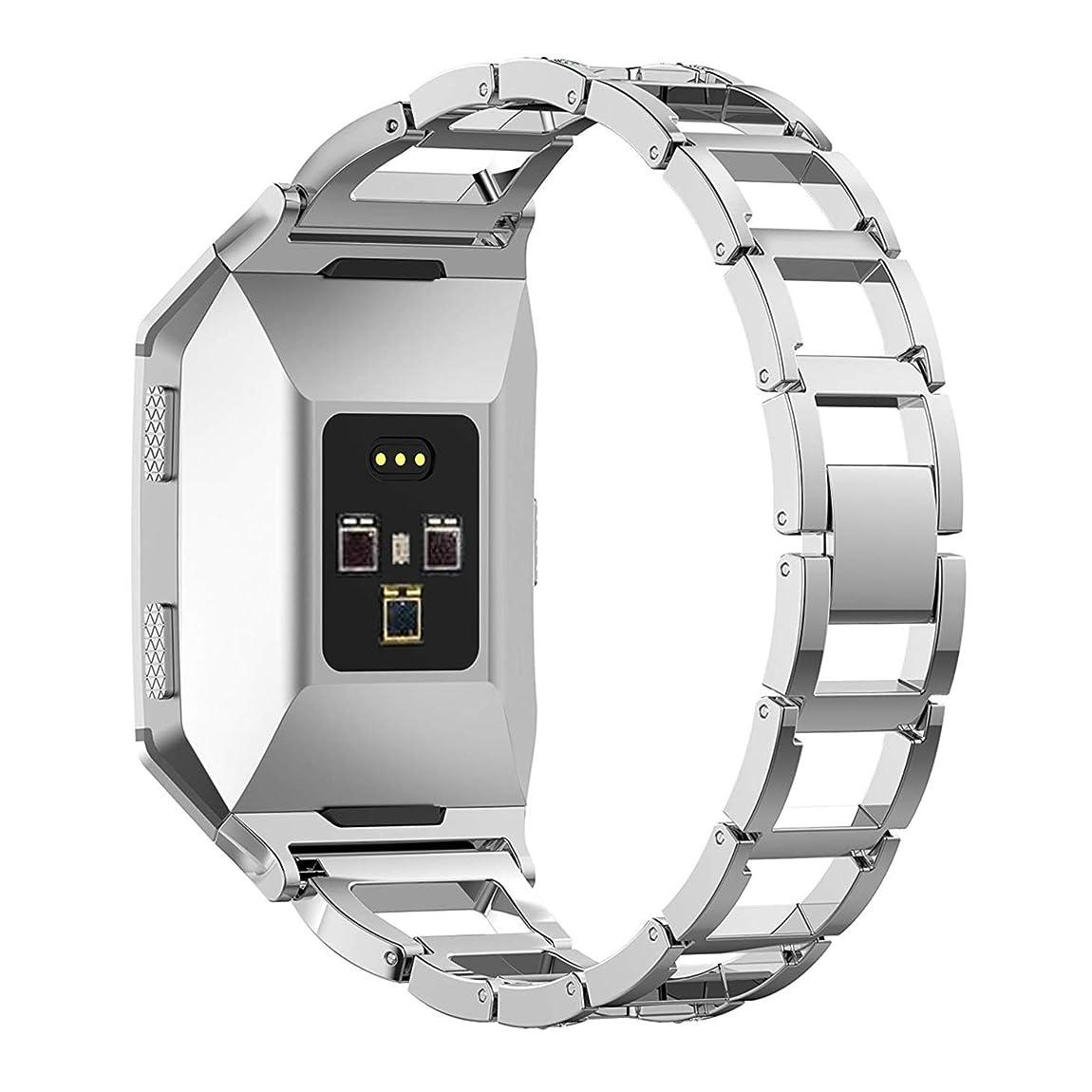 ママ迷信治療Fitbit Ionic バンド Yeezii  ステンレス製 交換ベルト 多色選択 Fitbit Ionic対応 (シルバー)