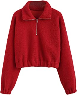 Women's Fashion Long Sleeve Lapel Half Zip Plain Faux Fur Sweatshirt Solid Color Crop Pullover Tops