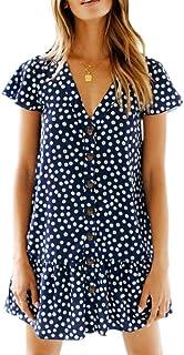 Chuanqi Womens Polka Dot V Neck Button Down Ruffles Casual Loose Swing Short Mini T-Shirt Dress(Medium, Navy Floral)