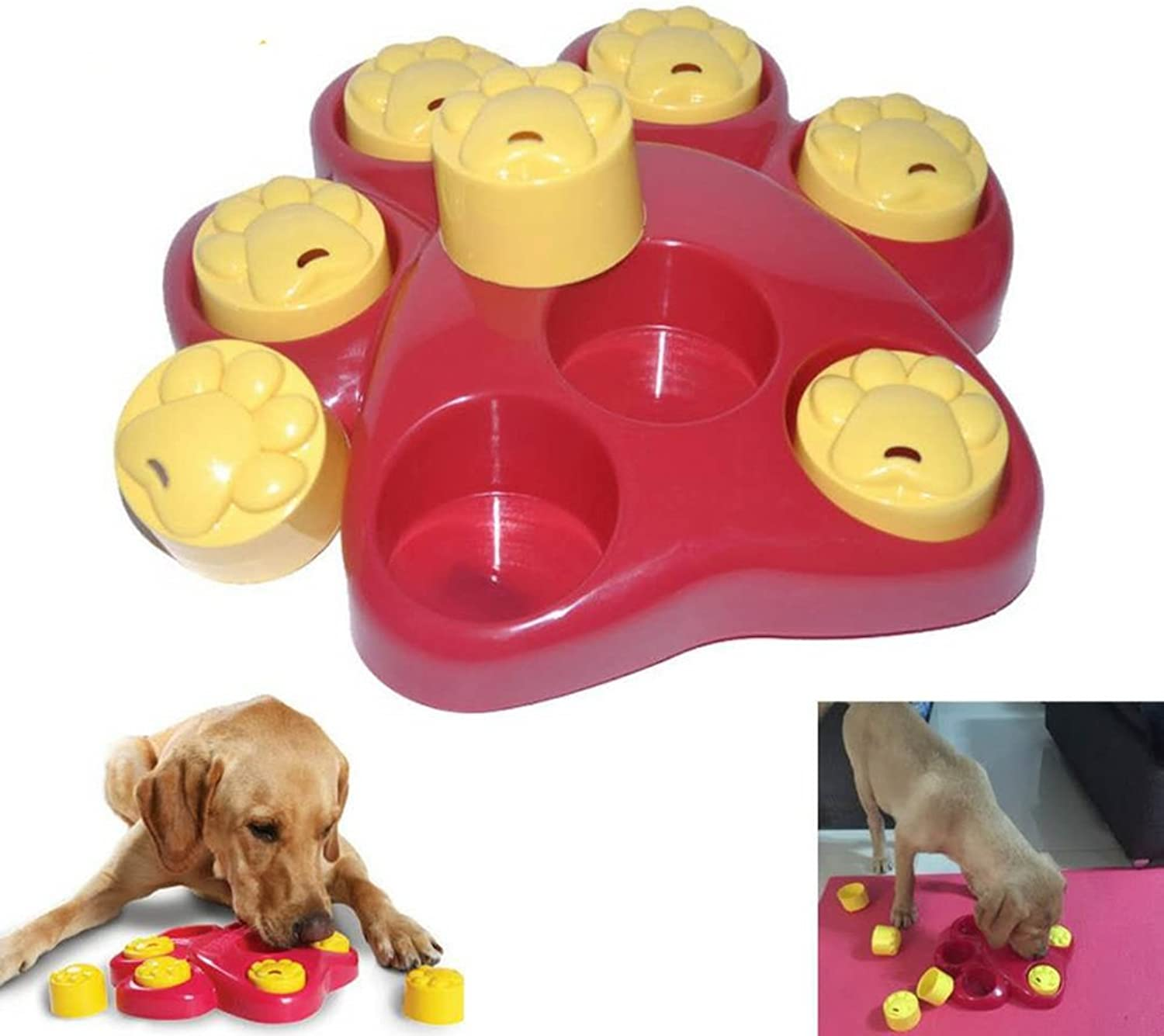 Pet Slow Food Bowl,Large Footprints Dog Cat Food & Water Bowl Pet Diet Interactive Feeder Bowl Digestion Tableware Fun Plate Treasure Hunt Food Utensils Dog Bowl (color   Red)