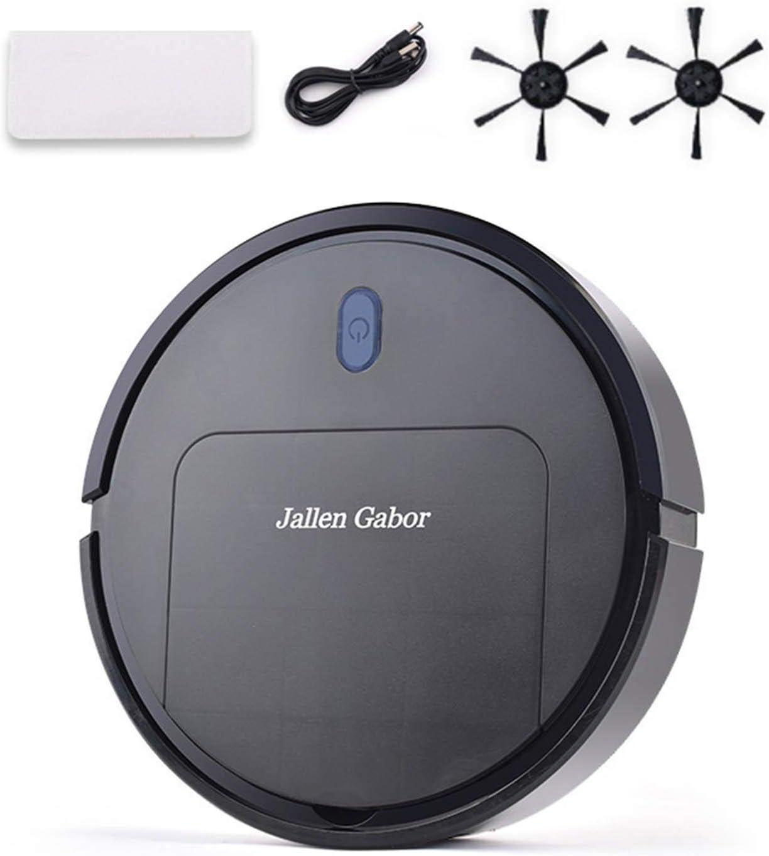 XIANLIAN Aspiradora robótica de 25 x 25 x 6 cm, 90 minutos, aspiración USB, delgada y automática, ideal para pelo de mascotas, suelo duro y alfombra de pelo bajo (negro/blanco)