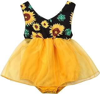 Baby Girl Sunflower Sleeveless Romper Dress Summer Floral Bodysuits Playsuit Infant Princess Sunsuit 0-18M