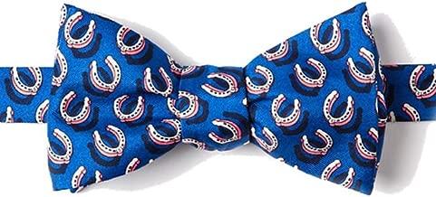 Men's 100% Silk Blue Equestrian Horse Horseshoes Butterfly Self Tie Bow Tie Neckwear