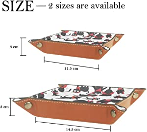 Cats Pattern Valet Tray Storage Organizer Box Coin Tray Key Tray Nightstand Desk Microfiber Leather Pouch,16x16cm