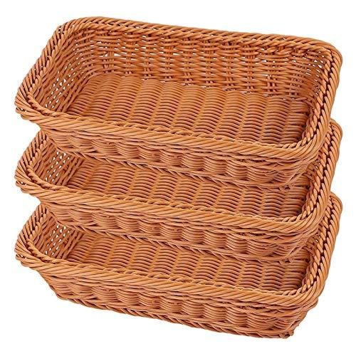 Decoración del hogar Cesta de almacenamiento tejido a mano 3 unids Cesta de pan de ratán Canasta tejida a mano Mueble de almacenamiento de alimentos Mesa de fruta de fruta Cesta de sirviente 12 pulgad