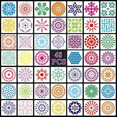 CDIYTOOL 48 plantillas de pintura con lunares de mandala para pintar sobre madera, tela, vidrio, metal, paredes y más proyectos de arte de pintura, 3.54 x 3.54 pulgadas