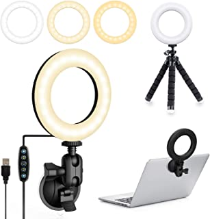 UooEA Selfie Ring Light con supporto per treppiede e ventosa, kit di illuminazione per videoconferenze 3200k-6500K dimmera...