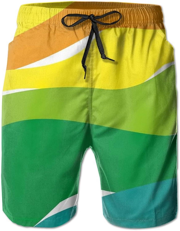 Men's Shorts Rainbow colorBeach Board Short Elastic Waist Trunk Quick Dry Swim With Pockets