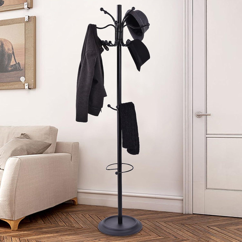 Tangkula 72  Metal Coat Hat Tree Stand with Umbrella Holder Coat Hanger Home Decor