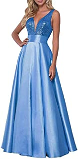 Jonlyc A-Line Sleeveless V-Neck Sequin Formal Gowns Long Satin Bridesmaid Prom Dresses