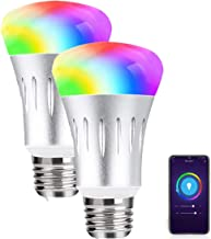 Smart Wifi Light Bulb E27 RGBW Light Bulbs Color Changing 60W Equivalent No Hub Required Work with Smartphone APP Alexa Go...