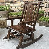 DGDF Silla mecedora de muebles al aire libre mecedora de madera antigua estilo americano país adulto jardín mecedora silla silla mecedora