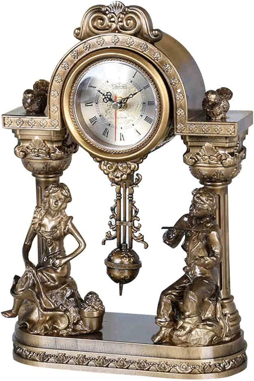 デスククロックファミリークロックヨーロッパのアート置時計、樹脂ミュートレトロな振り子時計リビングルームの寝室用リビングルームの寝室用