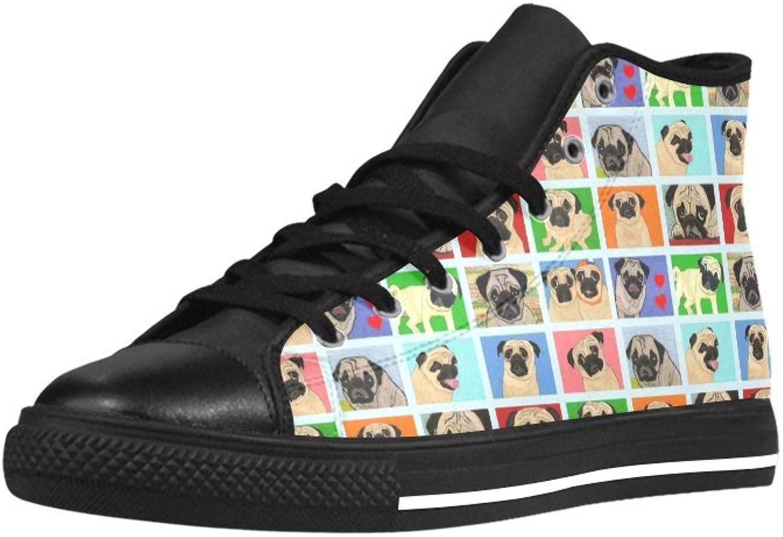 HUANGAISY biltoon Pugs Bakgspringaaad High Top Action läder läder läder herrar skor  letar efter försäljningsagent