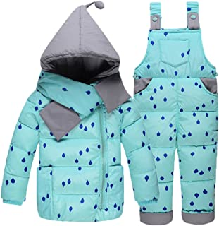 Baby Girls Snowsuit Toddler Puffer Hooded Jacket + Bib Pants 2 Pieces Set