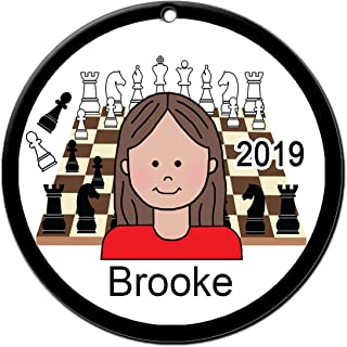 Chess Girl Personalized Christmas Ornament with Your Choice of Skin and Hair Color