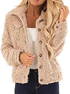 Women Fluffy Faux Fur Coat Sherpa Button Up Pocket Winter Short Jacket Cardigan