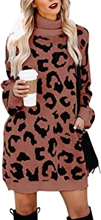 Soulomelody Womens Turtleneck Leopard Sweater Dresses Long Sleeve Fall Loose Knit Pullover Tunic with Pocket