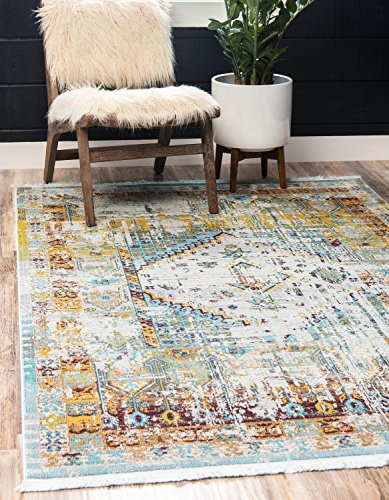 Unique Loom Baracoa Collection Bright Tones Vintage Traditional Light Blue Area Rug (8' 4 x 10' 0)