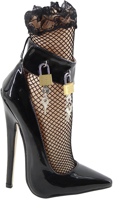 Wonderheel 7  Stilleto Heel Padlocks Ankle Strap Pointed Toe Sexy Fetish Heel Pumps