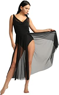 Women Adult Sleeveless Illusion V-Neck Mesh Split Flowy Skirt Mesh Lyrical Dance Dress