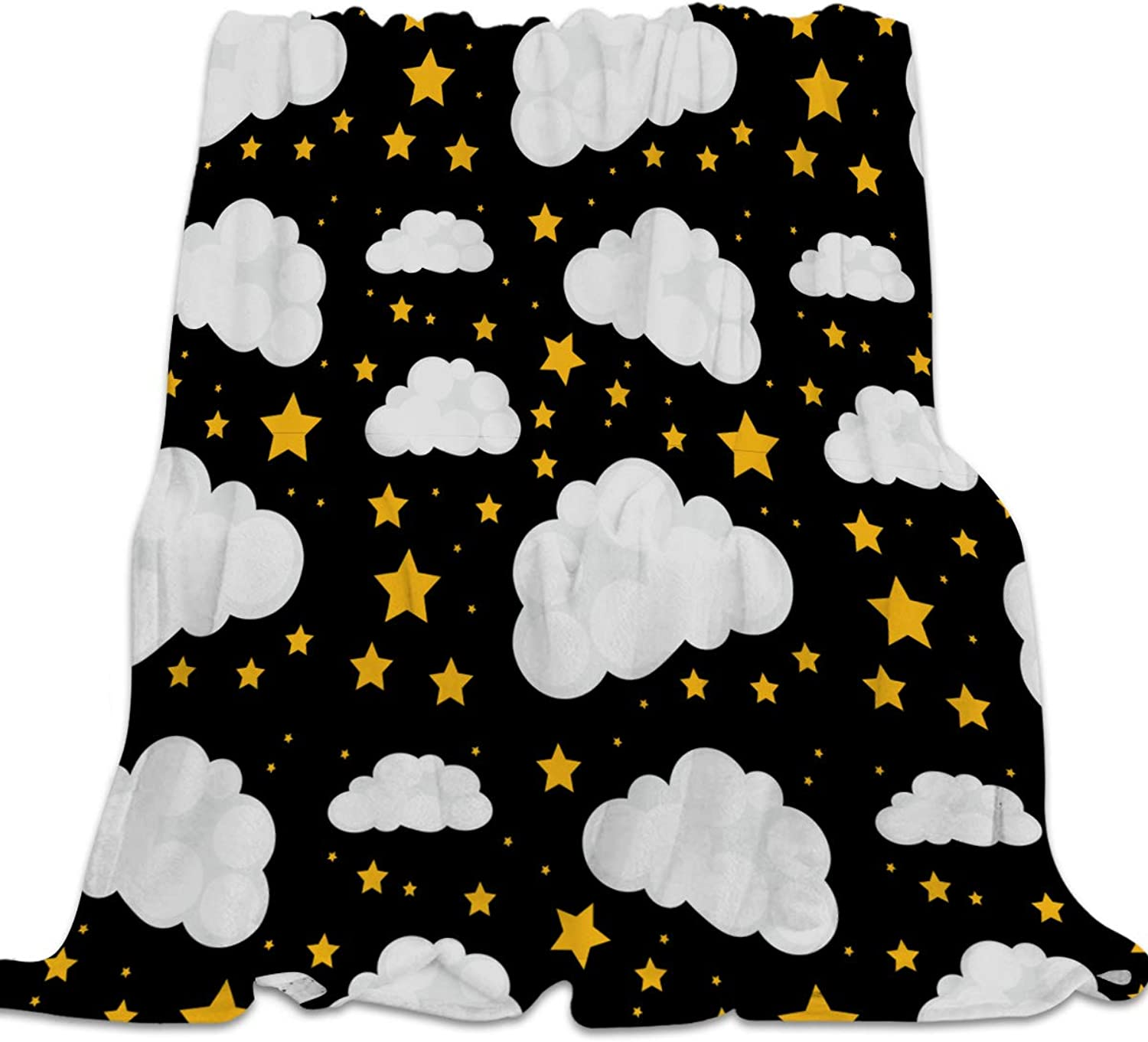 39x49 Inch Flannel Fleece Bed Blanket Soft Throw-Blankets for Girls Boys,Black and White Star Clouds Pattern,Lightweight Warm Kids Blankets for Bedroom Living Room Sofa Couch Home Decor