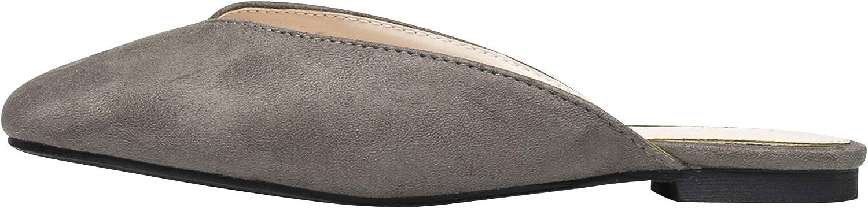 AnnaKastle Womens Vegan Suede V-Cut Backless Loafer Slip Ons Slipper