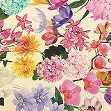 Tela de loneta estampada digital - Half Panamá 100% algodón - Retal de 60 cm largo x 280 cm ancho | Flores - Beige, multicolor