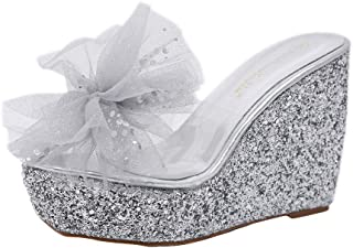 AIMTOPPY Womens Summer Wedge Shoes Fashion Platform Bling Sandals Party Shoes