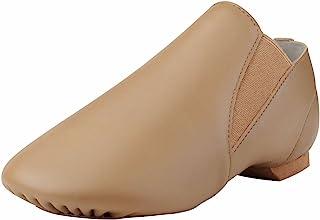 Dynadans Women`s Leather Upper Slip-on Jazz Shoe with Elastics