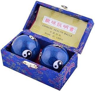 (イスイ)YISHUI 風水グッズ 中国お土産 健康球 脳 活性 ストレス ブルー 太極 解消 開運 財運 feng shui (4.8cm)