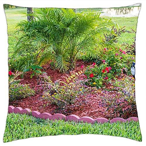 BXBX Throw Pillow Cover (18x18 Pulgadas) - Jardín Flores Naturaleza Verde Verano Planta Flor