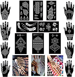 61cdae205 Pack of 16 Sheets Henna Tattoo Stencil/Templates Temporary Tattoo  Kit,Indian Arabian Self