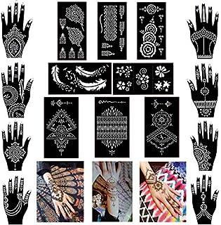 33b948b95 Pack of 16 Sheets Henna Tattoo Stencil/Templates Temporary Tattoo  Kit,Indian Arabian Self