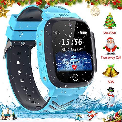 Jaybest Smartwatch Niños - Reloj Inteligente para Niños con rastreador de LBS con Linterna de Llamada SOS cámara Pantalla táctil Juego Smartwatch Childrens Navidad Gift (Blue)