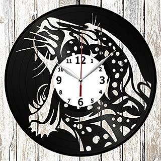 Cheetah Vinel Record Wall Clock Home Art Decor Original Gift Unique Design Handmade Vinyl Clock Black Exclusive Clock Fan Art