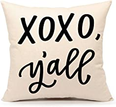 4TH Emotion XOXO Y'all Christmas Valentine's Day Throw Pillow Cover Cushion Case for Sofa Couch 18 x 18 Inch Cotton Linen