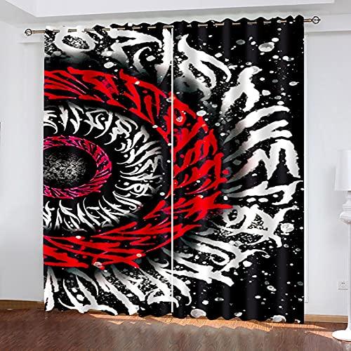 HAOGG Cortinas para Salon 3D Blanco Y Negro Rojo Arte Abstracto 2...
