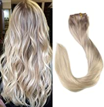 Full Shine 18 Inch Clip In Real Human Hair Extensions Clip In Balayage Remy Human Hair Color #18 Ash Blonde Fading to #22 and #60 Platinum Blonde Full Head Straight Extensions 9 Pcs 120 Gram Clip Ins