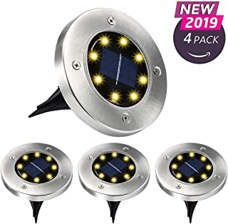 Aogist Solar Ground Lights,Solar Powered Disk Lights�Waterproof Garden Pathway Outdoor In-Ground Lights for Yard,Deck,Lawn,Patio and Walkway,White (4 Pack Warm White)